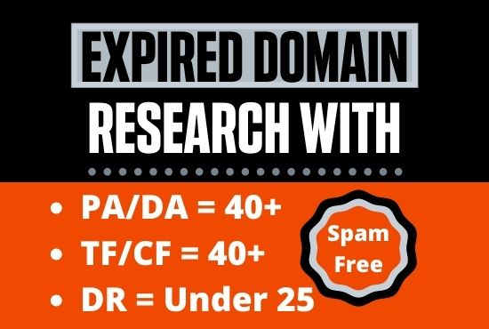 Provide expired domain research that will rank