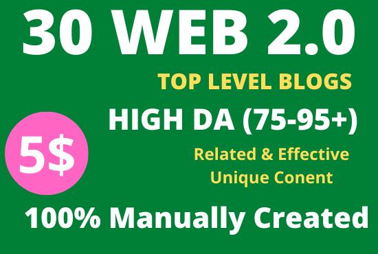 I Will Build 30 High Quality Web 2.0 Backlinks Manually
