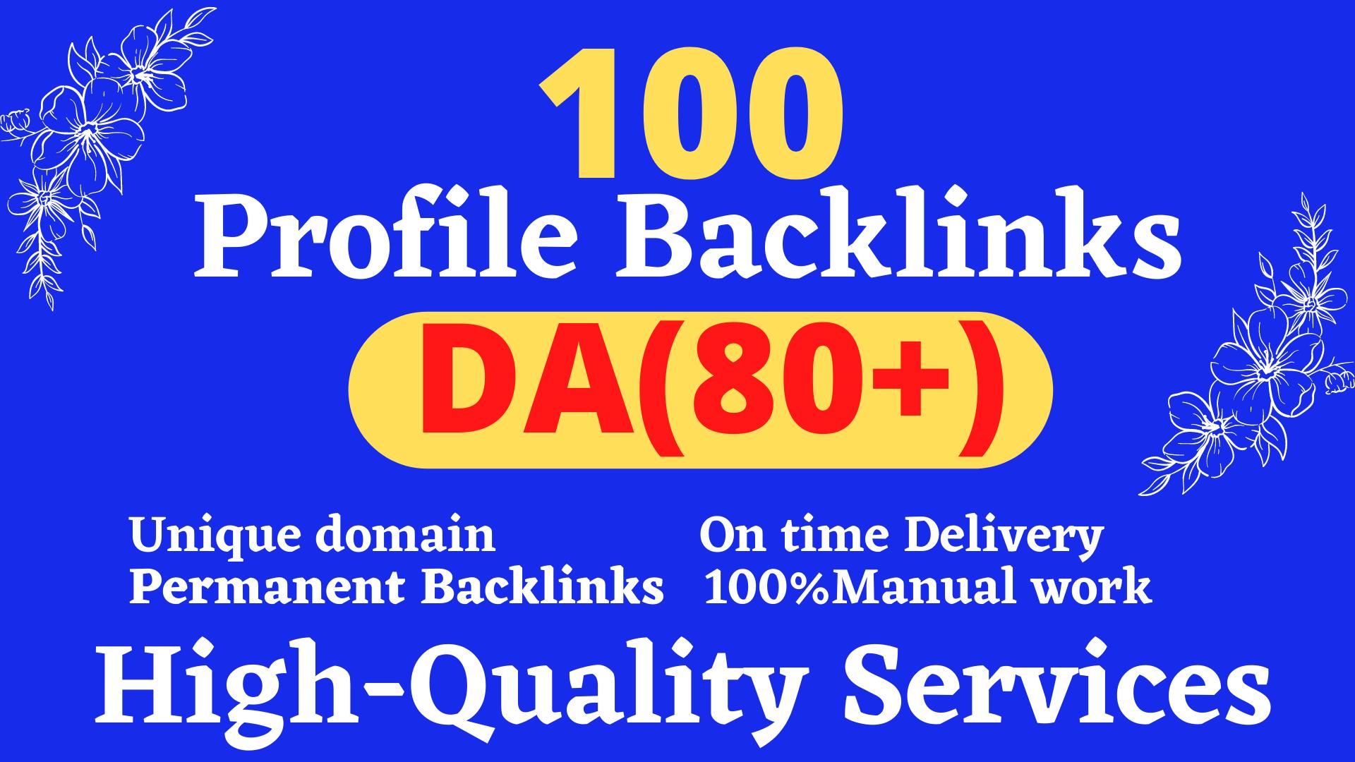 Manually create 100 TOP BRAND 80+DA Profile Backlinks