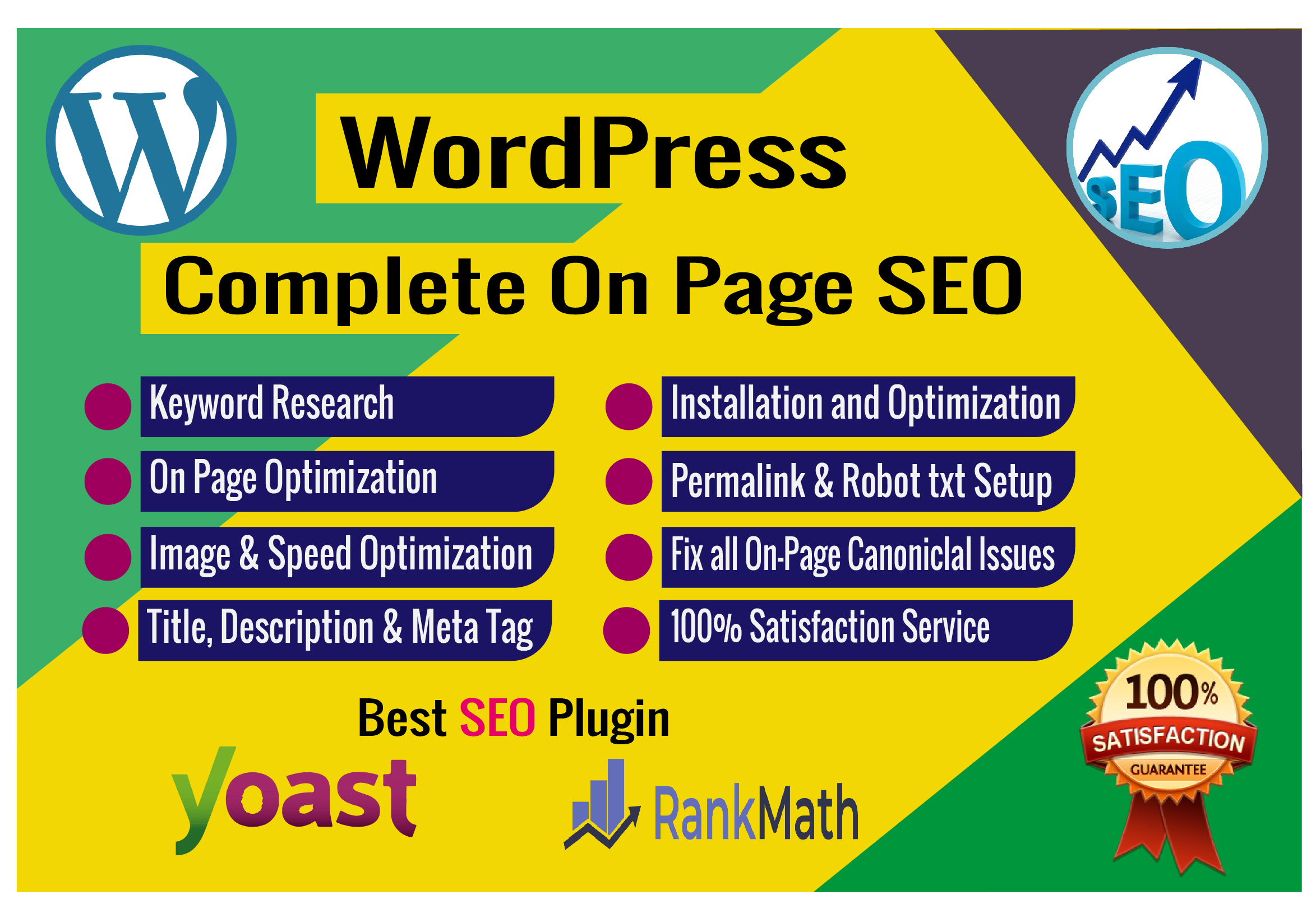 WordPress on page SEO Google ranking with Yoast SEO or Rank Math