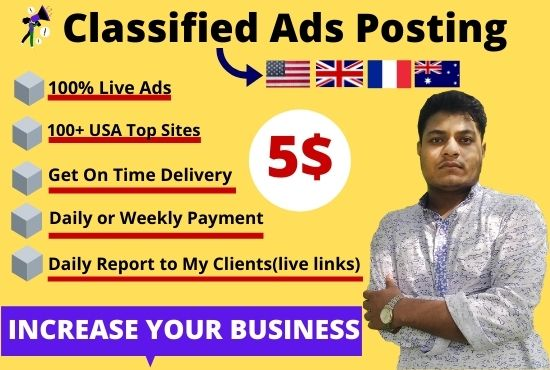 I will publish your 80 ads on the top classified ad posting sites for any country