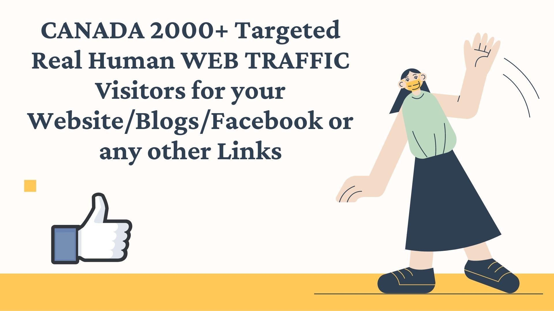 CANADA 2000+ Targeted Real Human WEB TRAFFIC