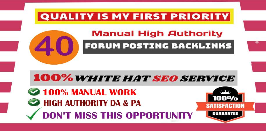 l will provide 40 d0f0ll0w ForumPosting backlinks on High quality DA & PA