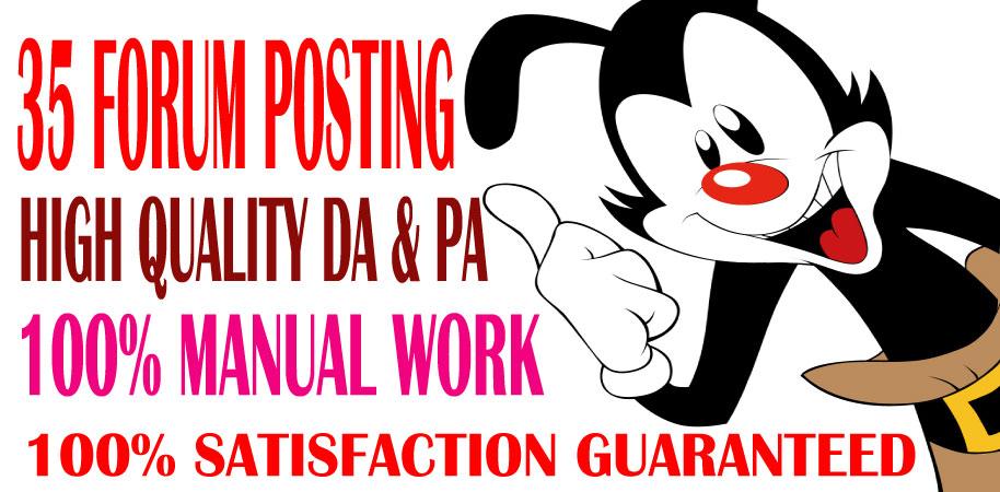 l will provide 35 d0f0ll0w ForumPosting backlinks on High quality DA & PA