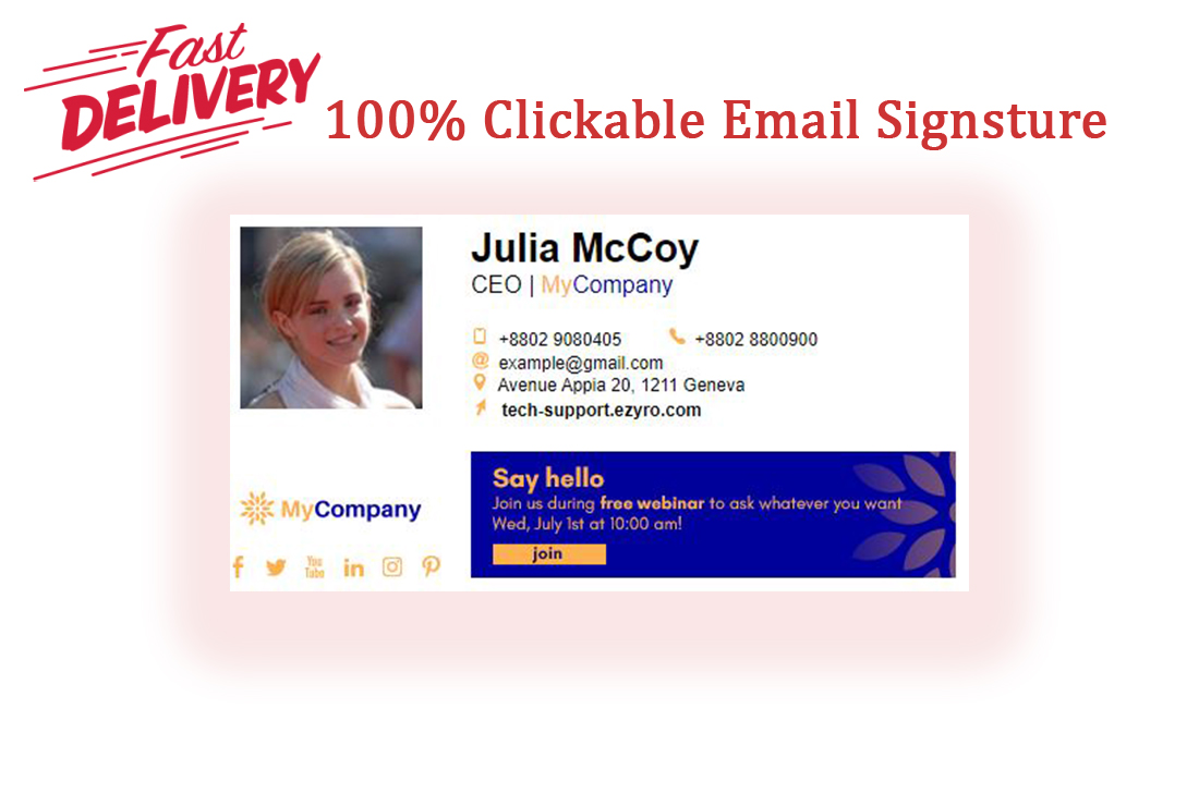 I will make a clickable HTML email signature