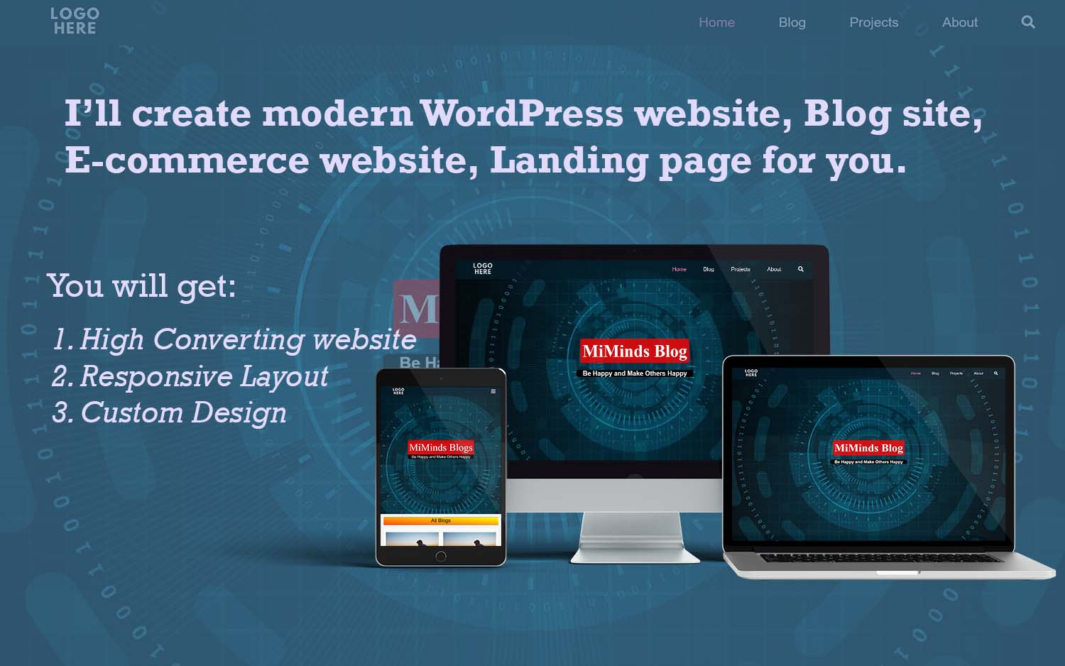 I will design and develop modern wordpress website,  landing page,  ecommerce store,  blog site