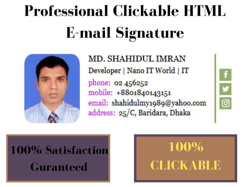 I can design professional clickable HTML Email signature