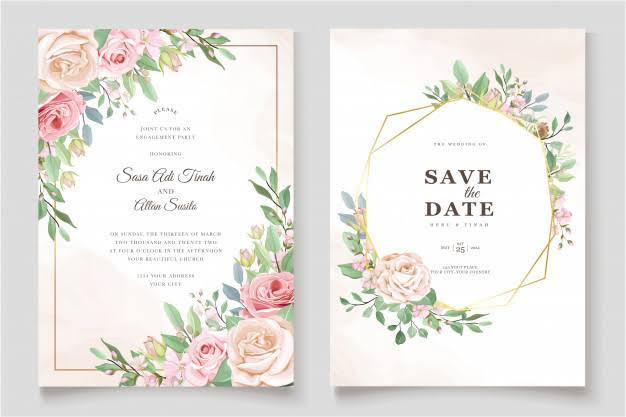 the beautiful and smpliy courageous wedding card design