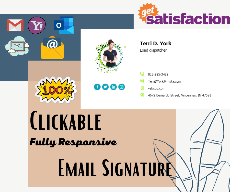 I will Design For You Professional Clickable HTML Email Signature