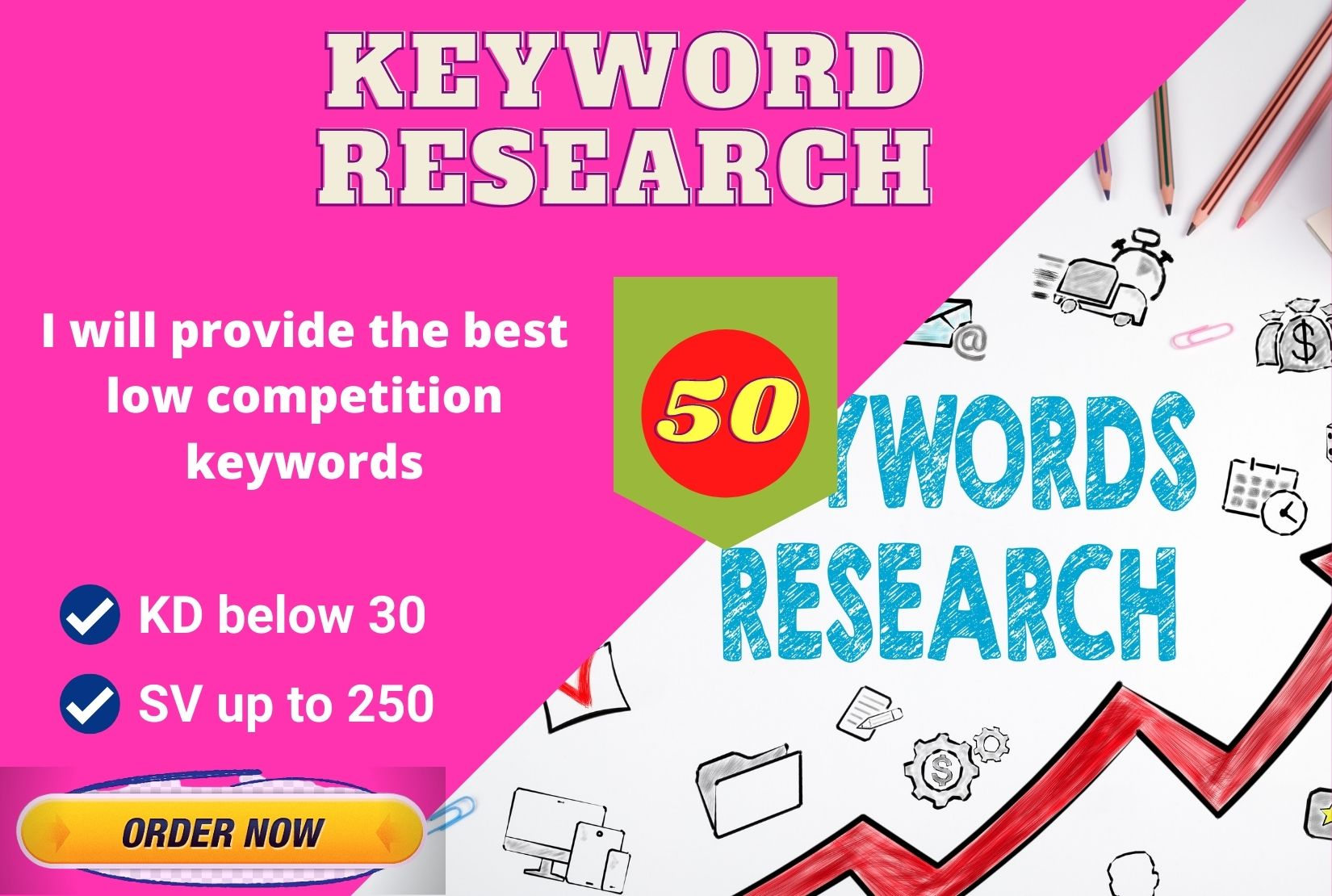 I will research affiliate marketing keyword kd below 30 sv 250 up
