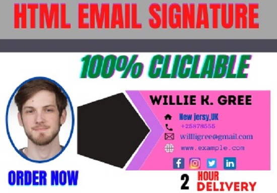 I will create clickable HTML Signature for your email