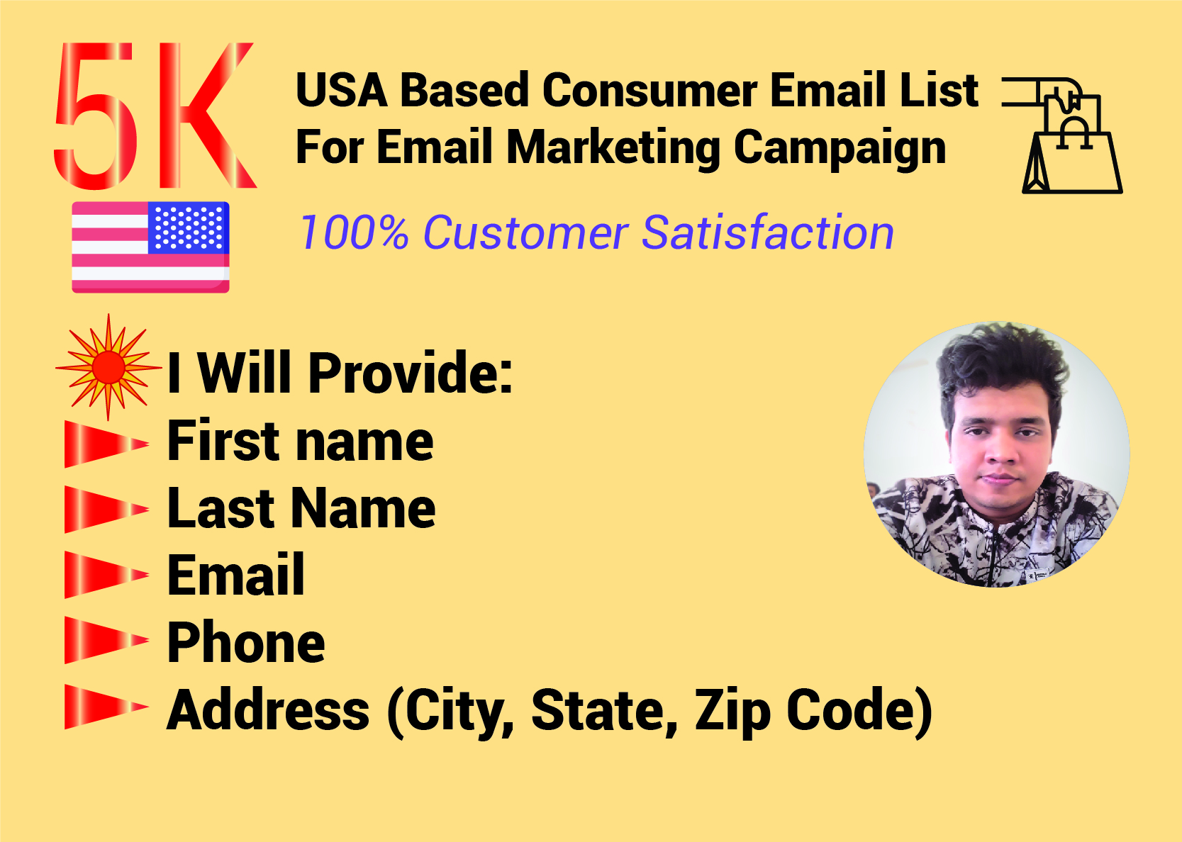 5K USA based consumer email list collection within 24 hours