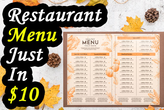 I will design food menu,  restaurant flyer,  food brochure for you