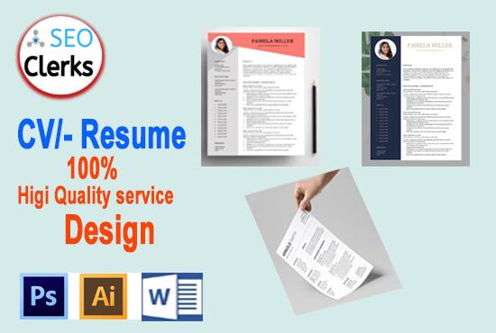 I Will do best modern CV- Resume Cover Lettre Design Quality service