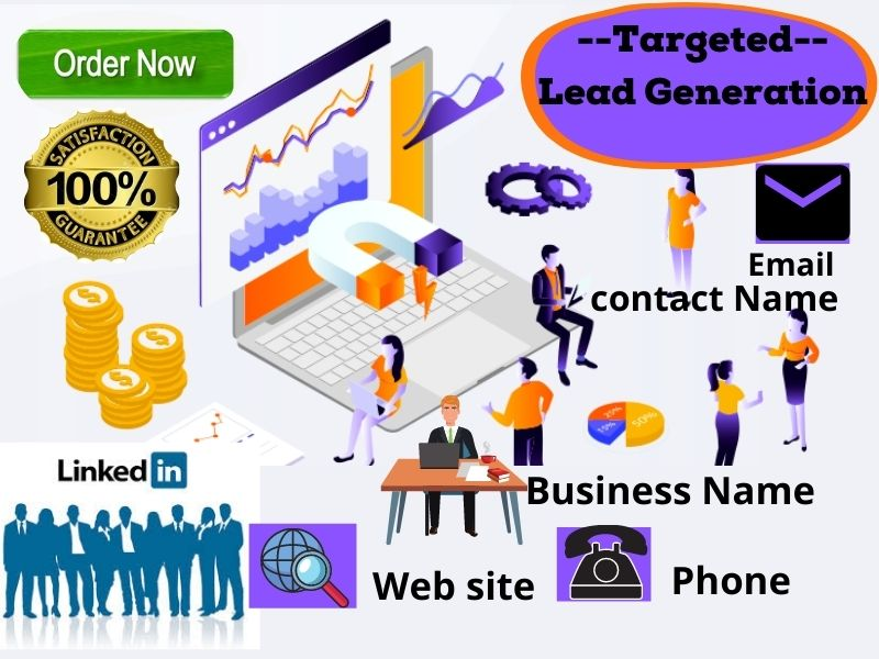 Targeted Lead generation Email list & linkedin, web research, business email