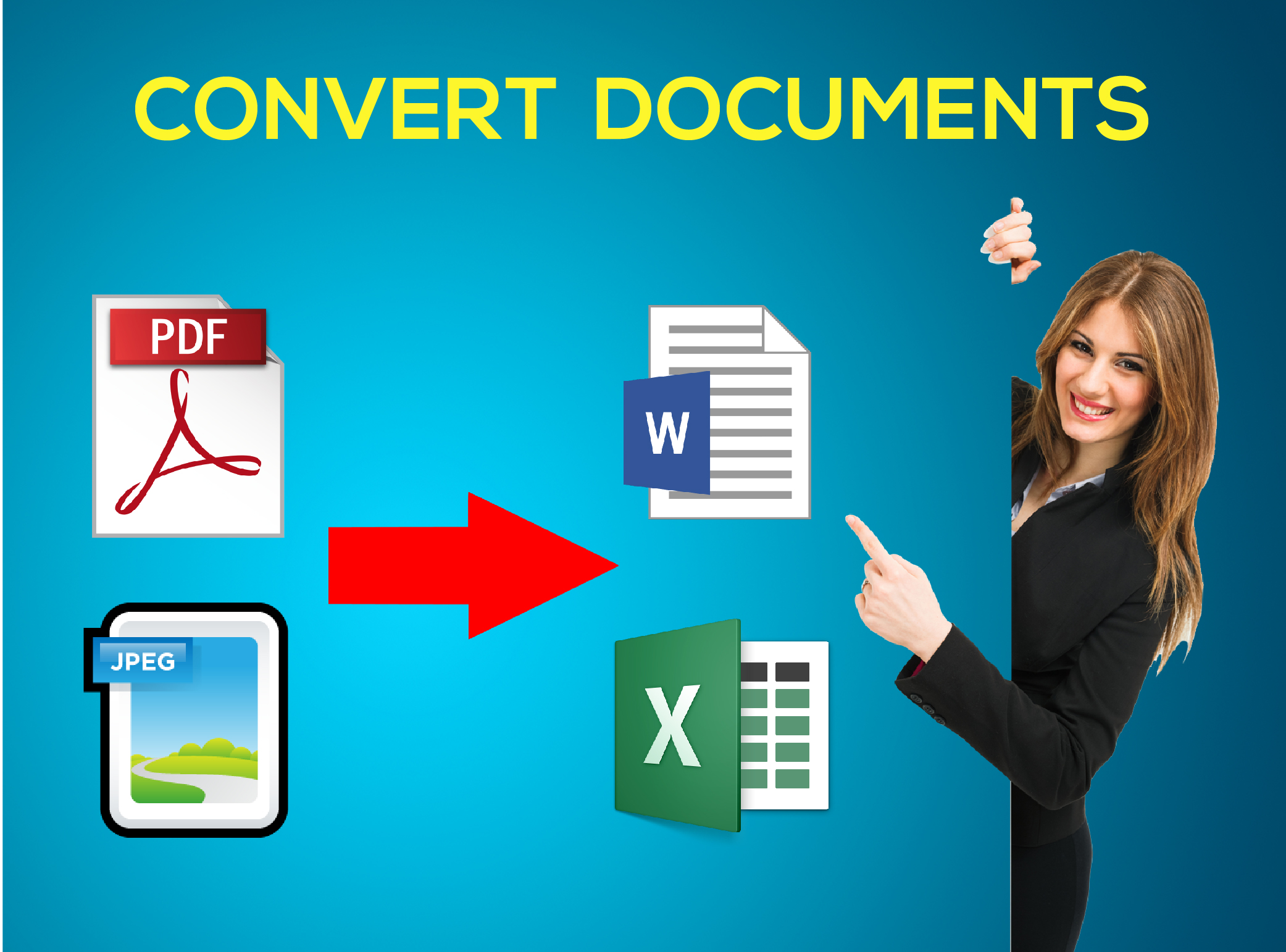 Convert Pdf or Jpeg files to Word or Excel