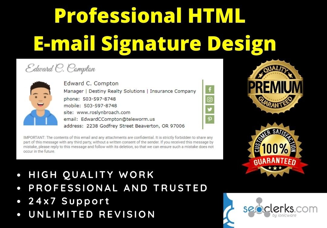 I will Provide Professional HTML E-mail Signature Design Quickly