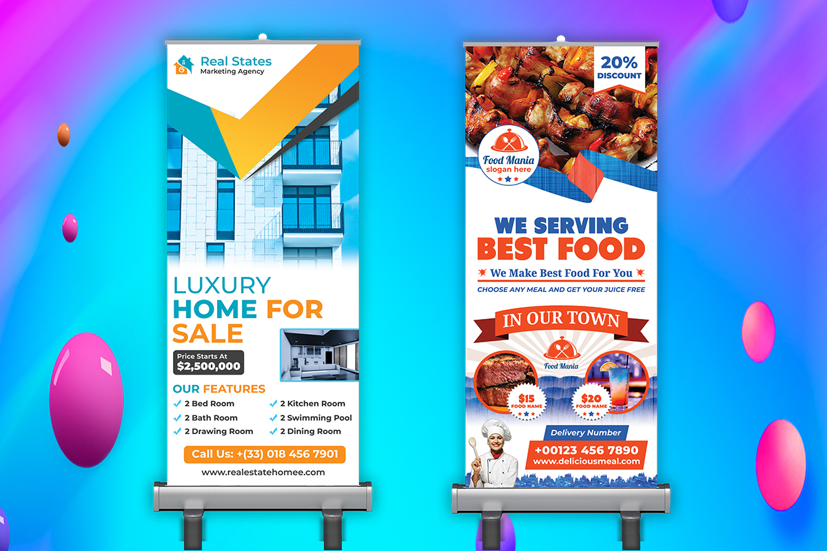 I will design roll up banner,  billboard,  yard sign in 24hrs