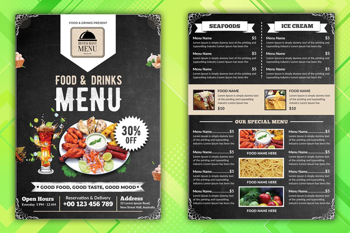 I will design restaurant food flyer or poster, food menu