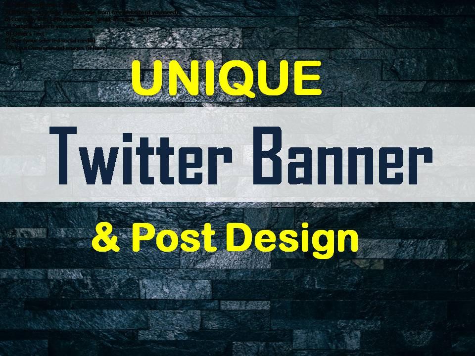 Unique 2 Twitter Banner & Post Design