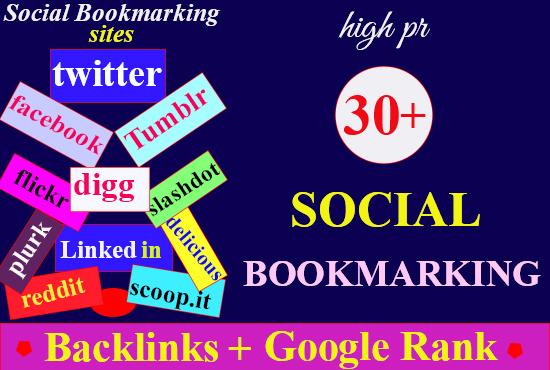 Provide worldwide best 30 + high quality Social Bookmarking backlinks