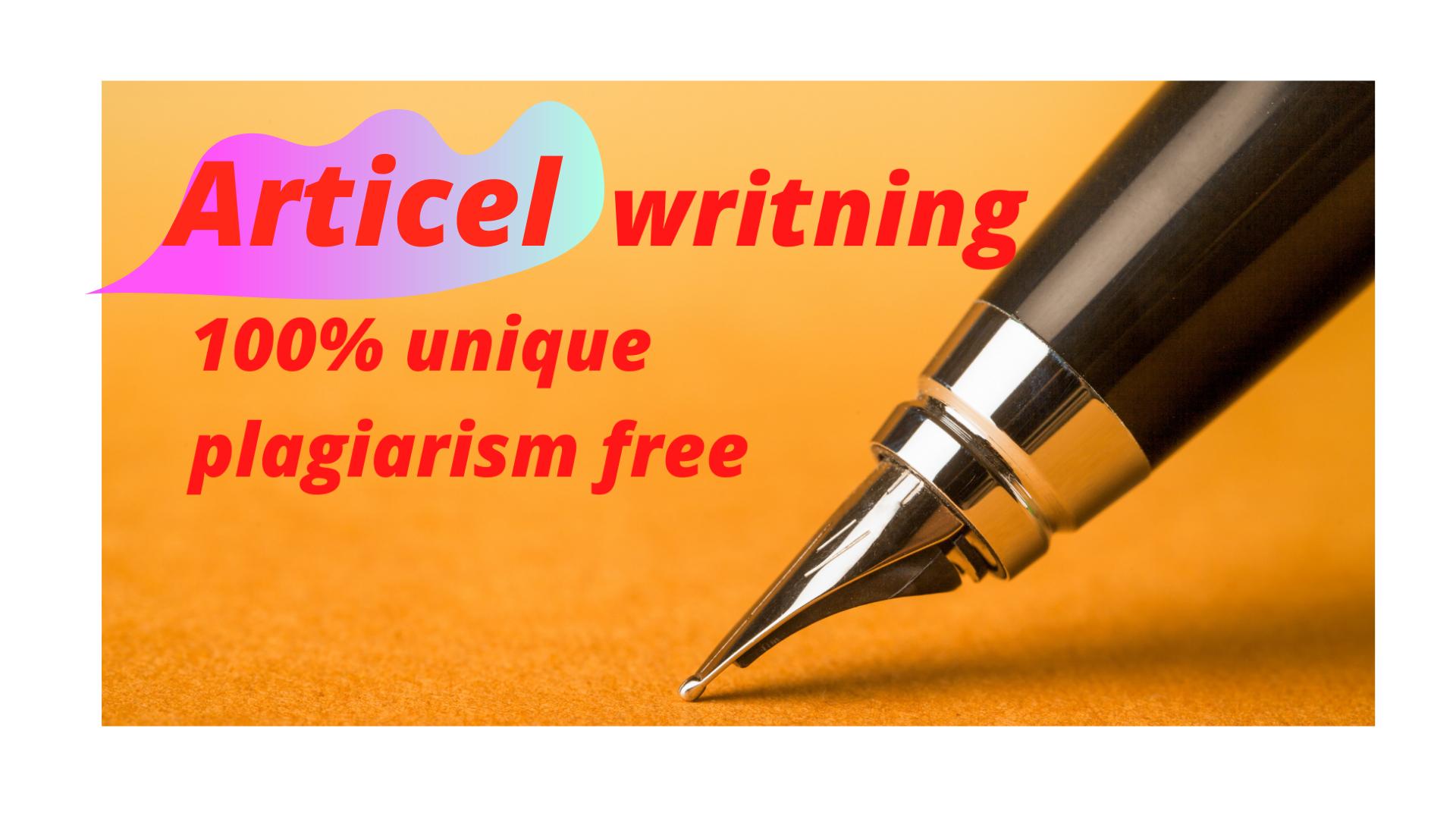 I will write unique article and contain