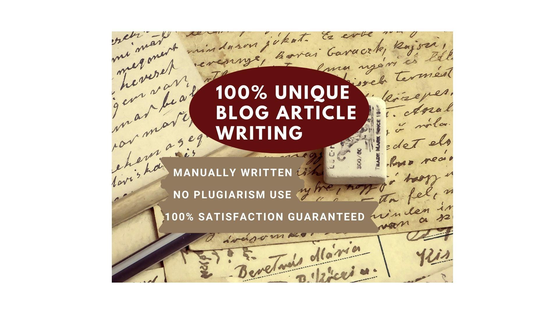 I will write niche related unique blog article
