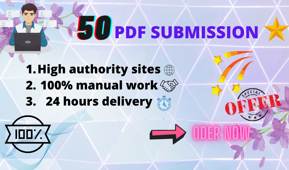I will do 50 manual PDF submission on top document sharing sites