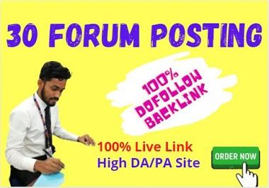 Manually create 30+ Forum Posting high domain authority