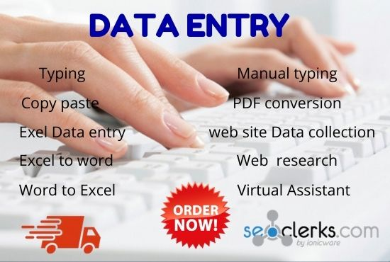 I will do data entry,  copy paste, typing and web research jobs.