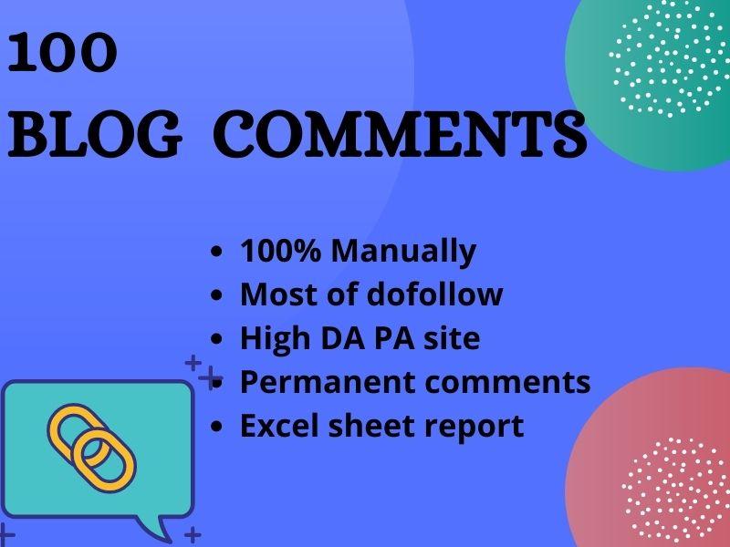 I Will Do 100 Blog comments Full Manually