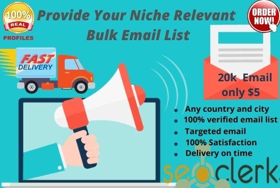 I have a huge collection of niche based email list and give you these fully verified email list