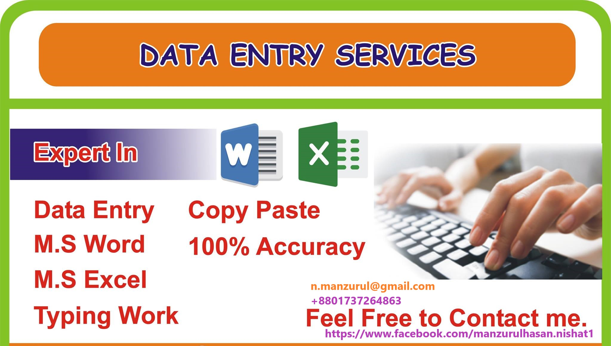 I will Do Data Entry, Copy_pest, PDF to Excel/Word, JPG to PNG.