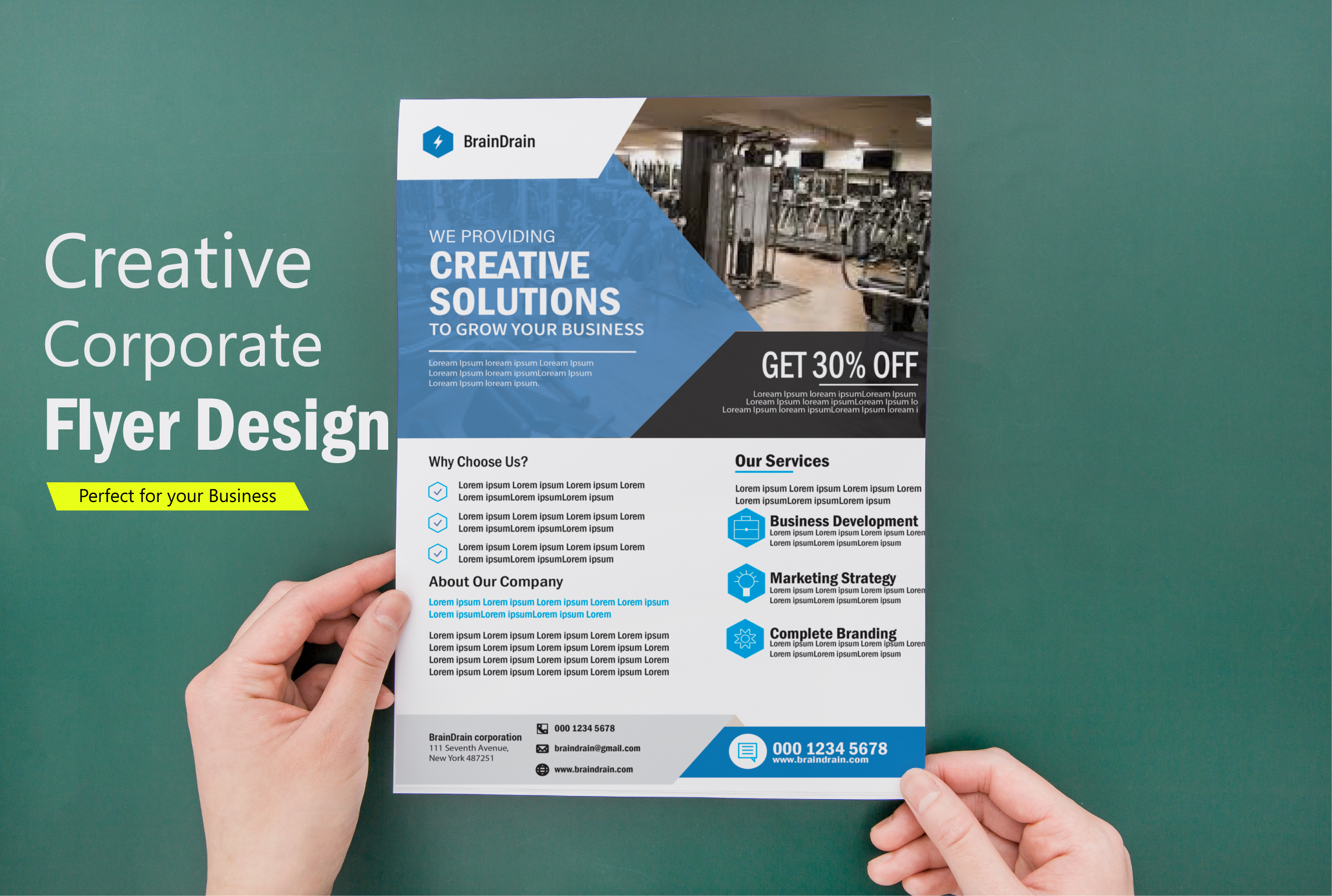 I will design a creative professional flyer for your business