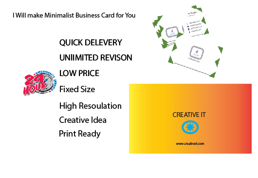 I will make unicqe minimalist Business card for you