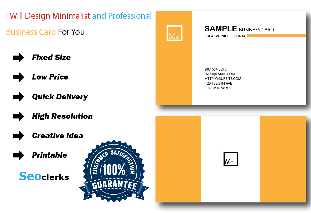 Make minimalist and professional business card for you