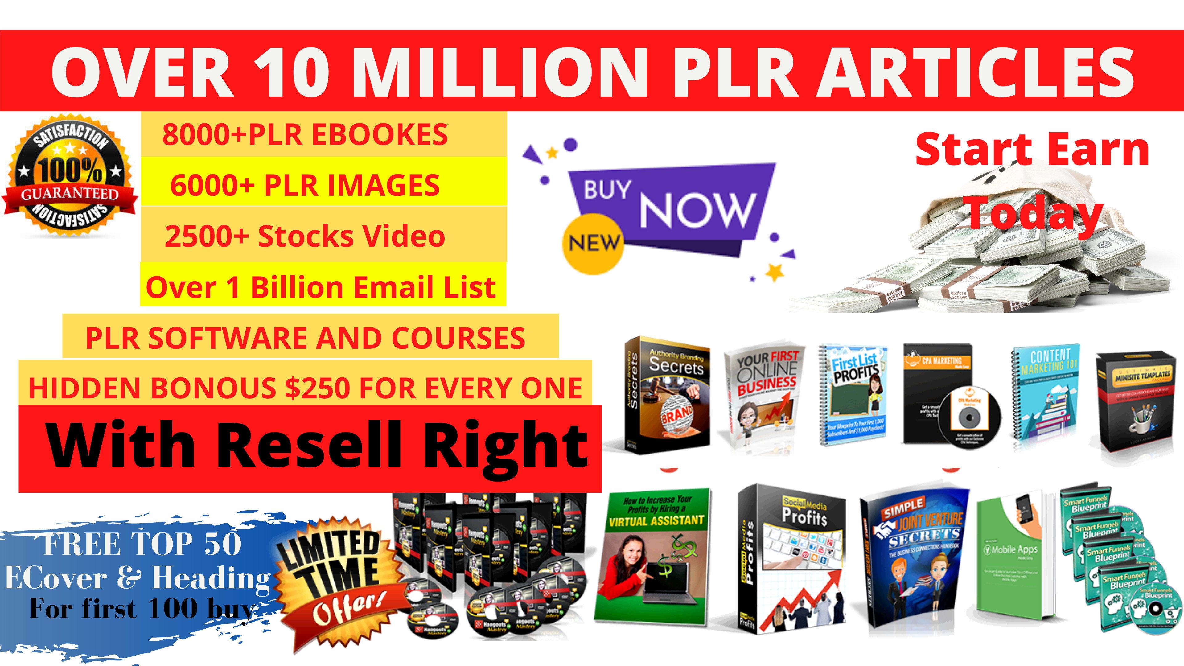 I will send 10 million plr articles,  ebooks,  software,  video training