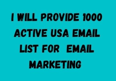 I provide 1k USA active consumer email list for email marketing service.