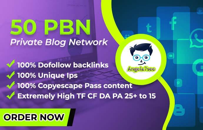 Create 50 pbn homepage contextual backlinks