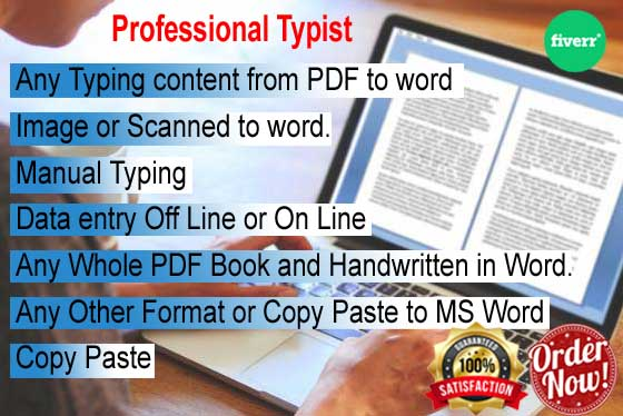Professionally all kind of Word,  Excel typing job 25 pages within 24h