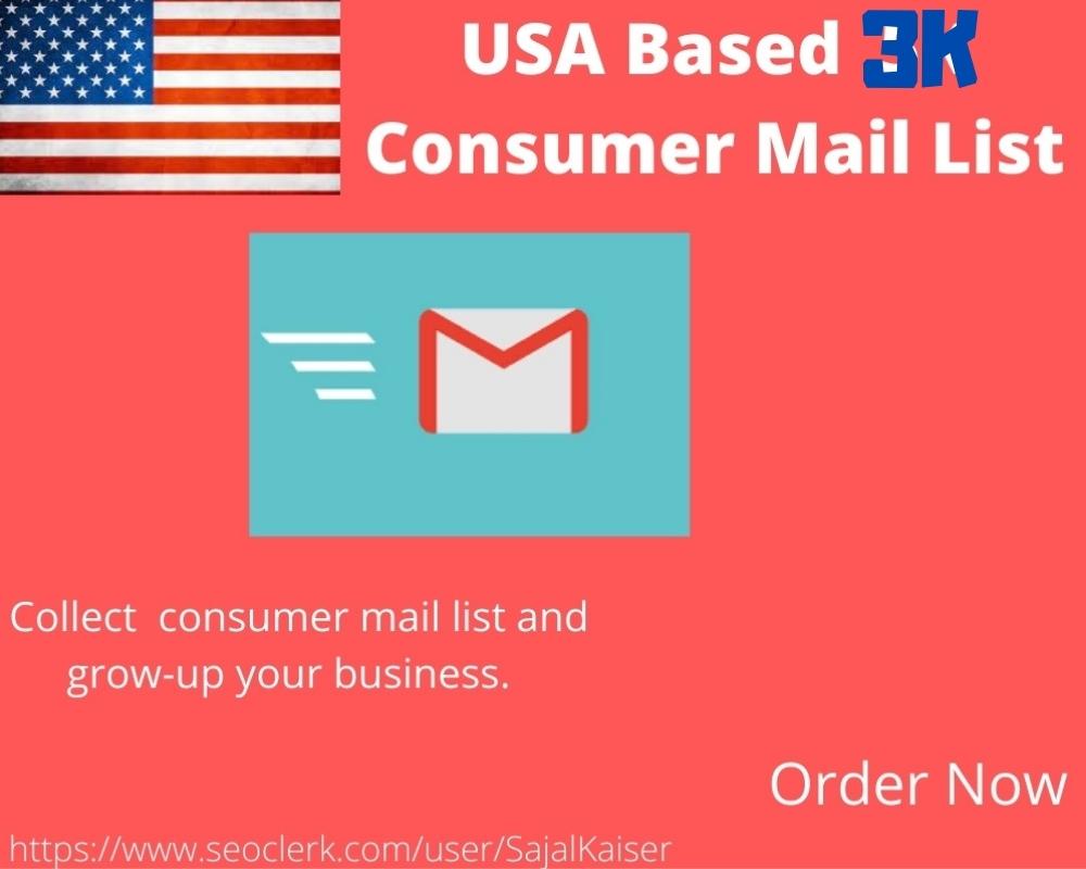 I will provide 3k USA based consumer Email list