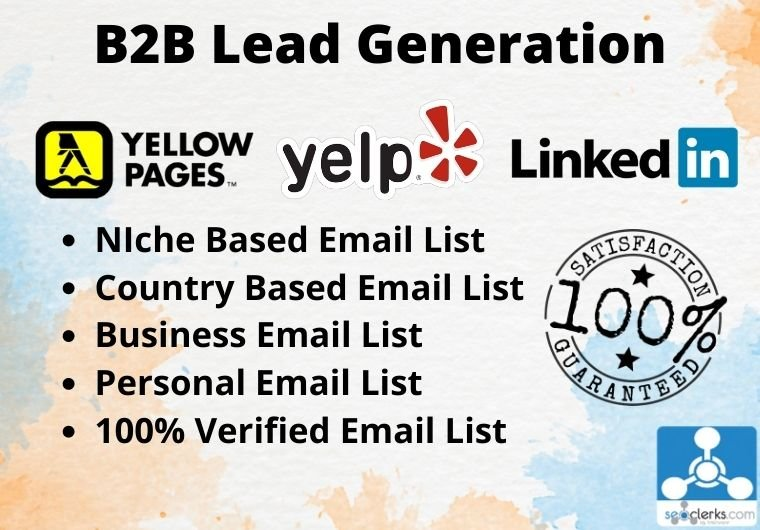 I will do b2b lead generation,  business email list,  Web research