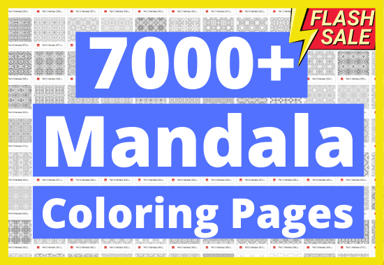 Give you 7000 mandala coloring pages Pattern mandala coloring pages adults detailed