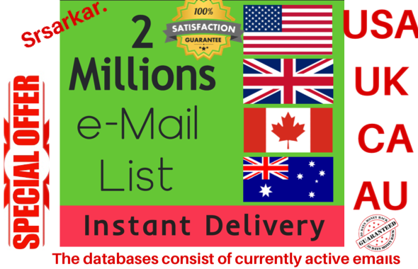 give 2 million USA UK canada australia consumer email list data