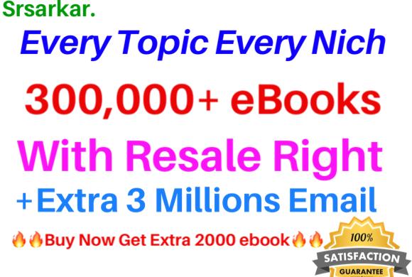 300000 ebooks PLR Collection bonus 3M Active Emails