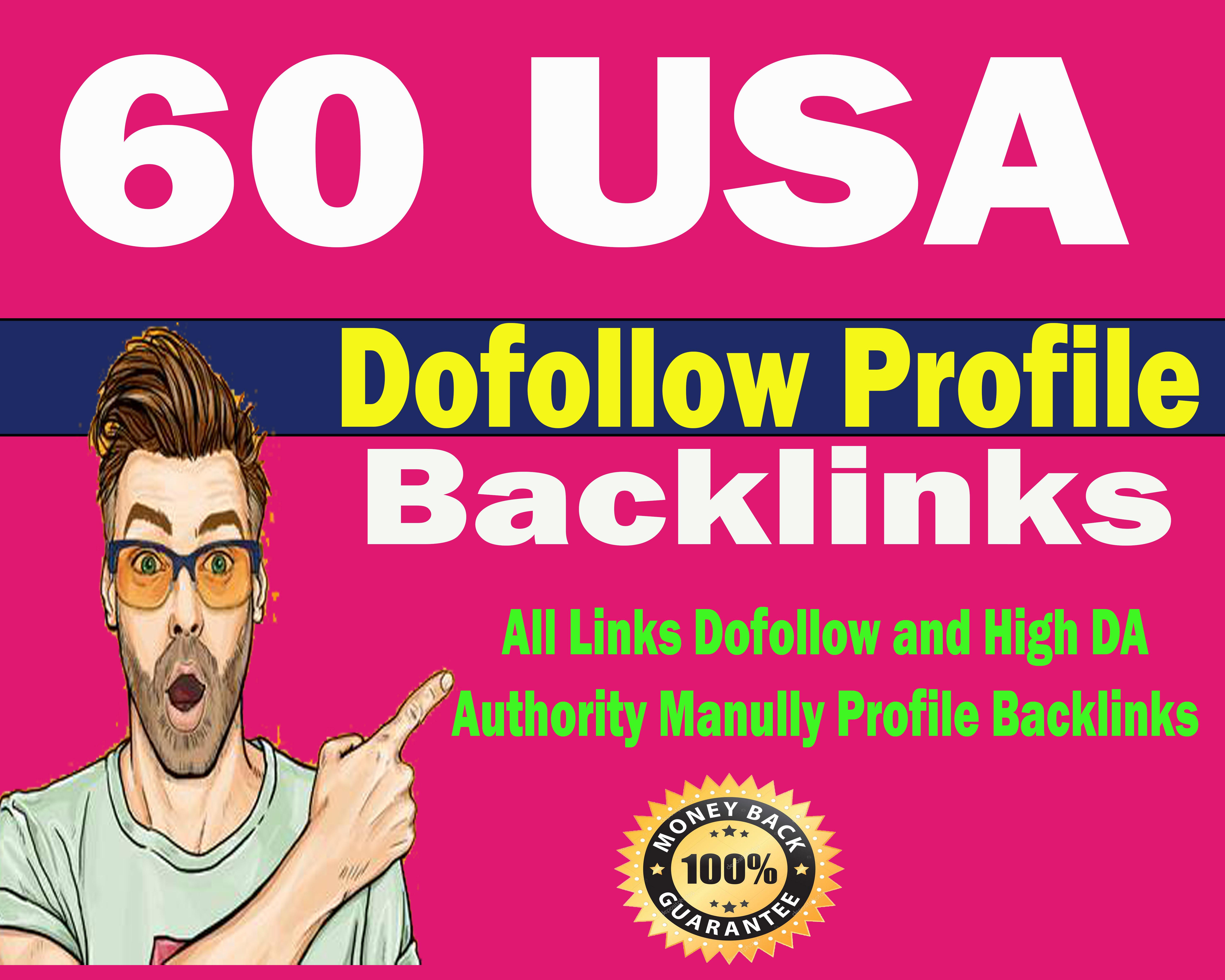 manully create 60 USA high quality dofollow profile backlinks