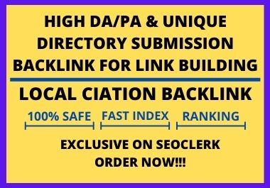 I will do 25 high rankings directory submission quality backlinks for SEO link building
