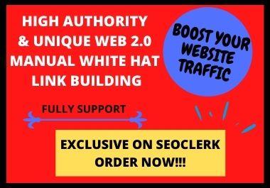 I will build 20 amazing google high authority web 2 0 backlinks
