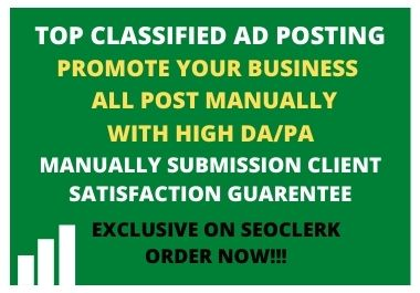 I will do 20 manually ad posting on top rank rated classified ad posting sites