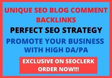 I Will Do 30 Unique Domain SEO blog comment Backlinks On high Da Sites